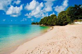 White sandy beach nearby