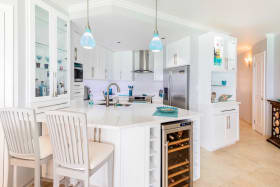 Renovated kitchen with wine fridge