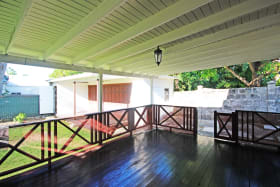 Large patio in the 2 bed Ground Floor Apt