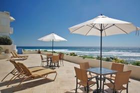Ground floor patio overlooking the boardwalk and the Atlantic ocean