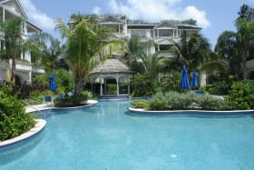 Expansive, free form swimming pool and poolside gazebo