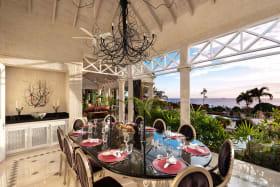Formal dining area facing the Caribbean Sea