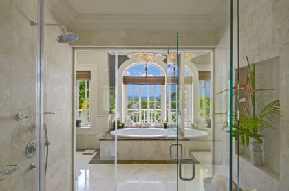 Master shower and bathroom with wonderful views