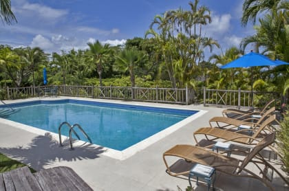 Heated swimming pool and surrounding terrace