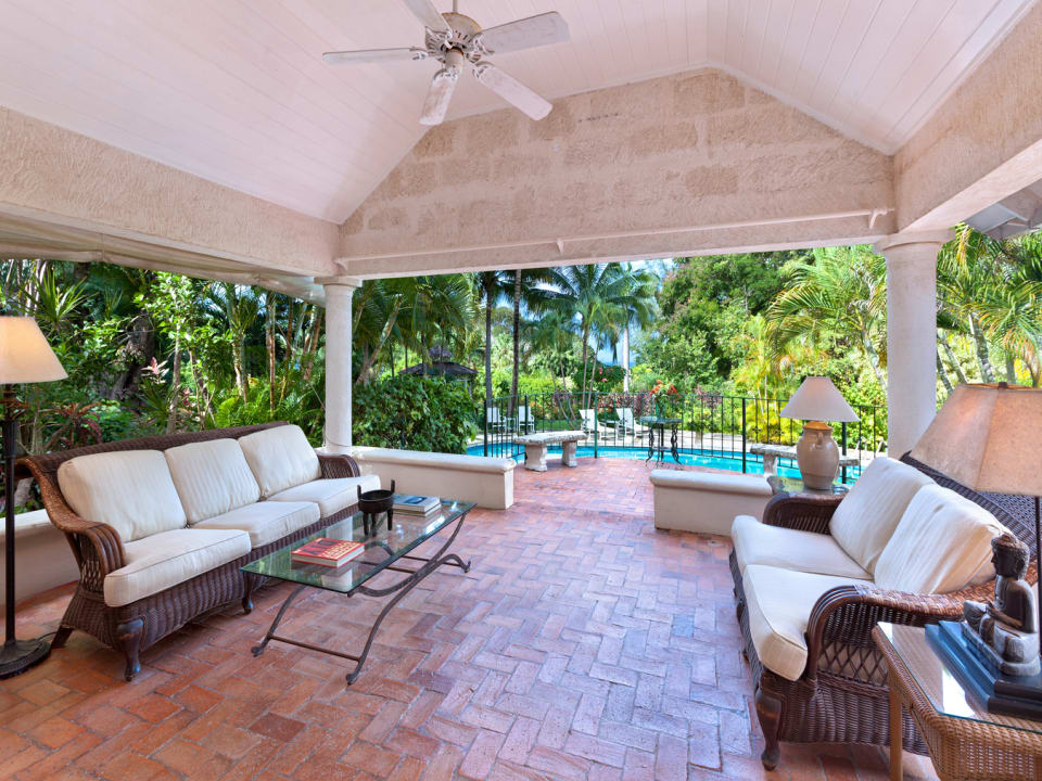 Patio Overlooks Pool and Garden