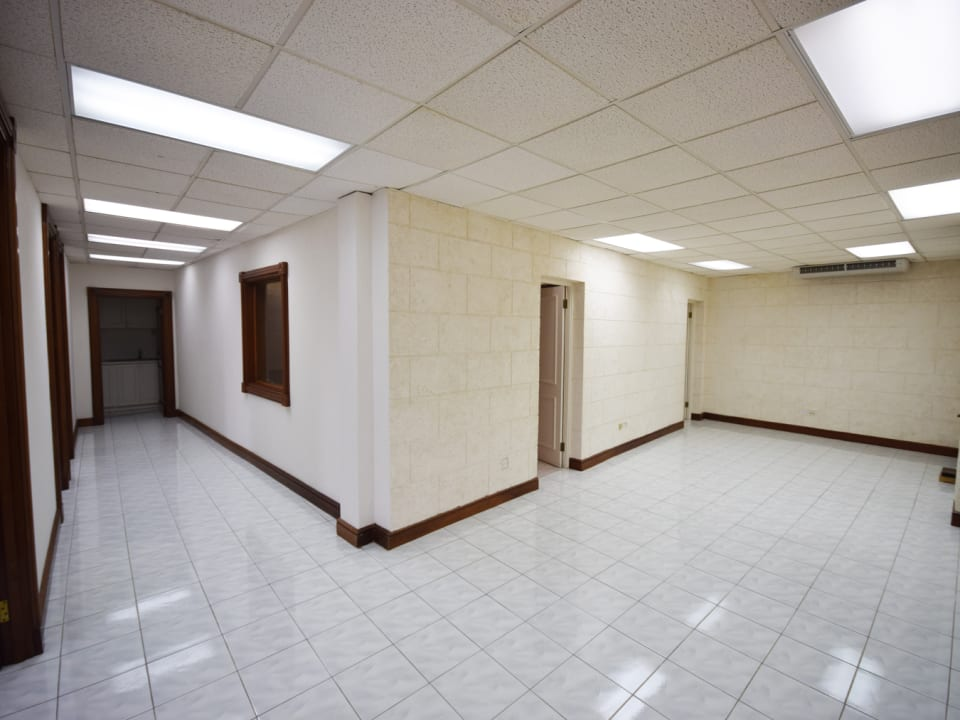 Reception area and hallway leading to offices
