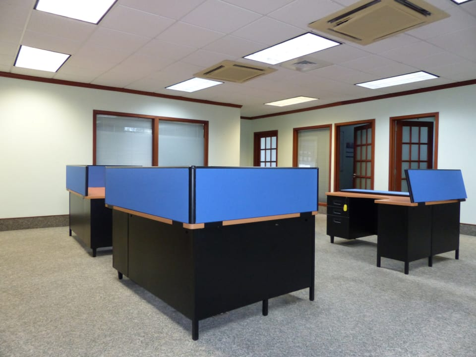 Open plan with sectional offices