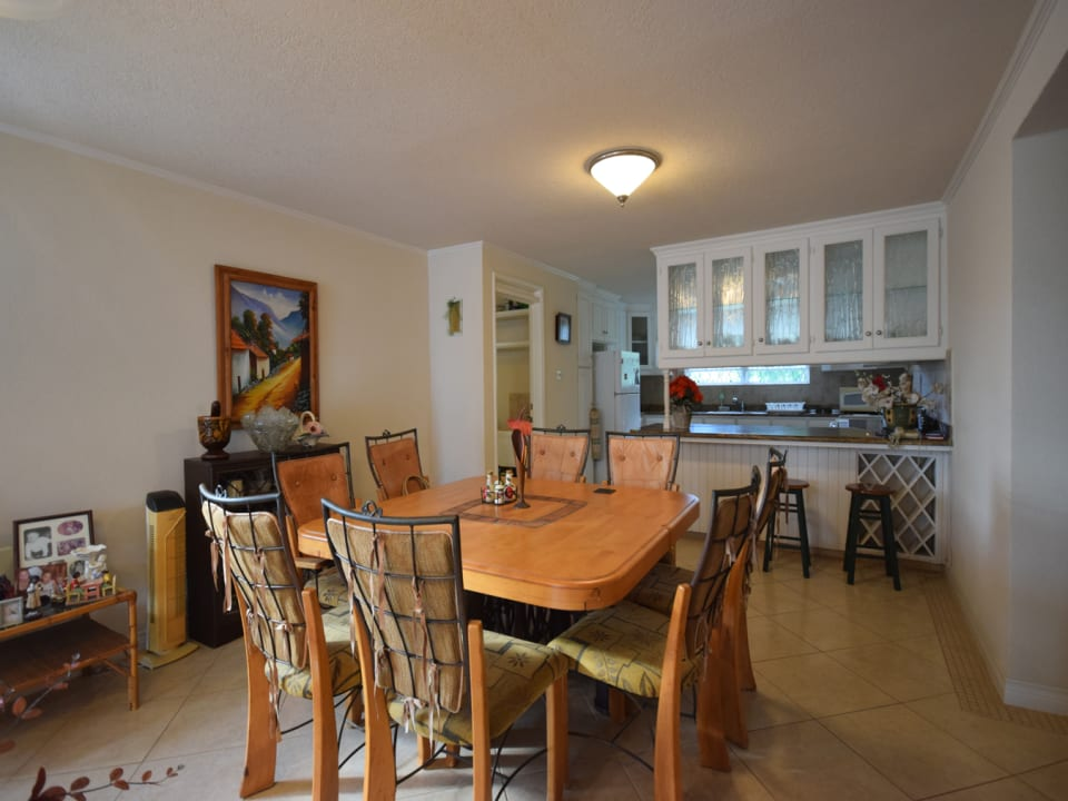 Dining area flows onto the kitchen