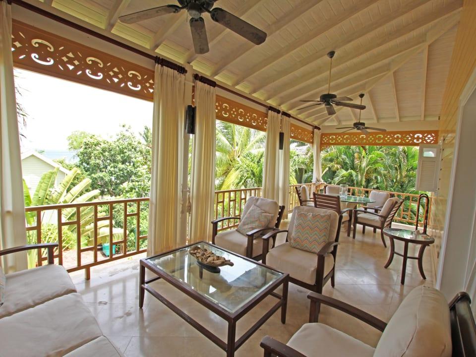 Spacious terrace with garden & sea views