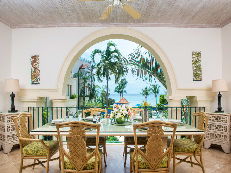 Dining area with views of the ocean