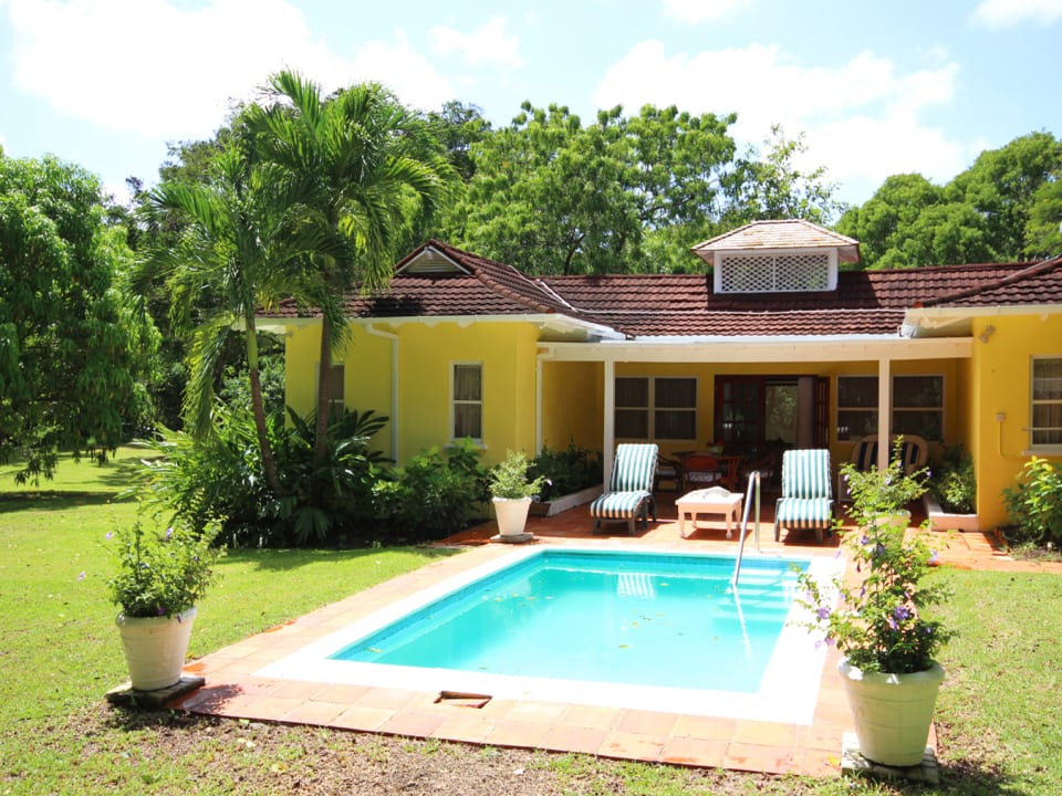 View of pool and covered verandah