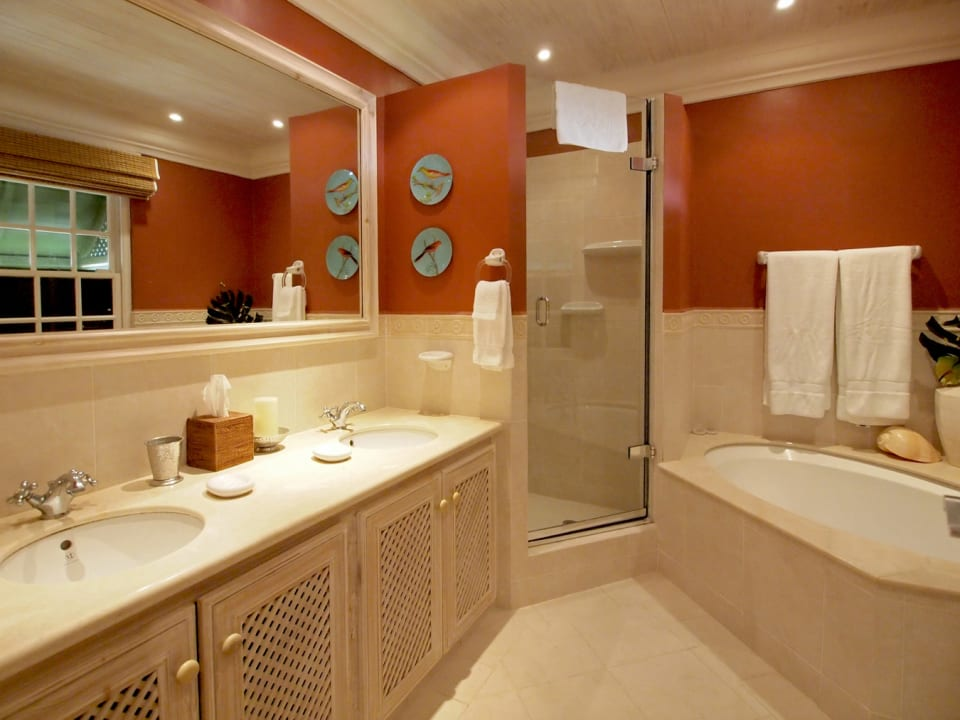 Bathroom with double vanity, tub and shower