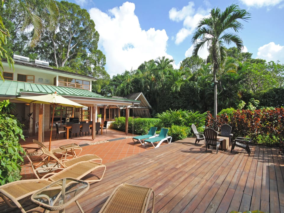 Sun deck and garden leads to the beach