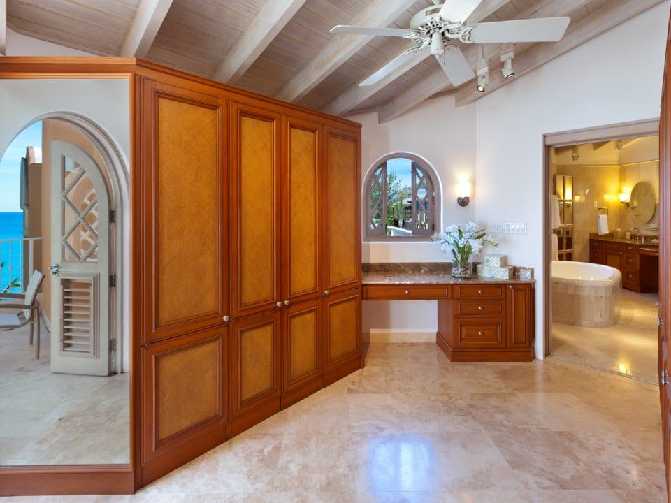 Large walk through dressing area and bathroom
