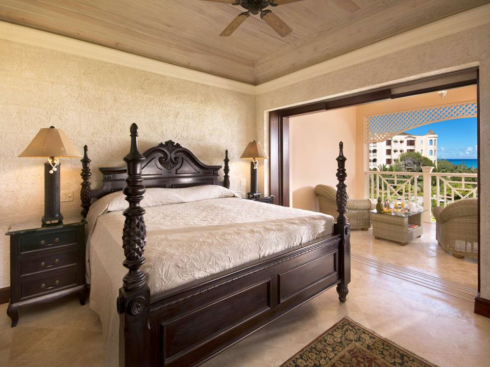 Spacious bedroom with resort views