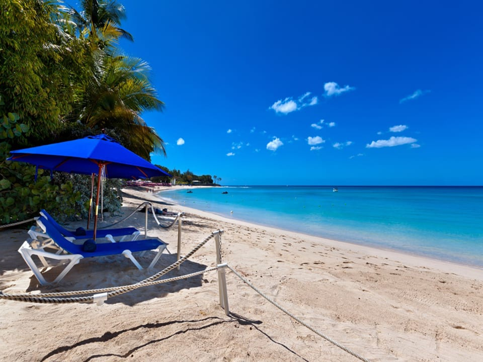 Private access leads to Sandy Lane beach where loungers are set up