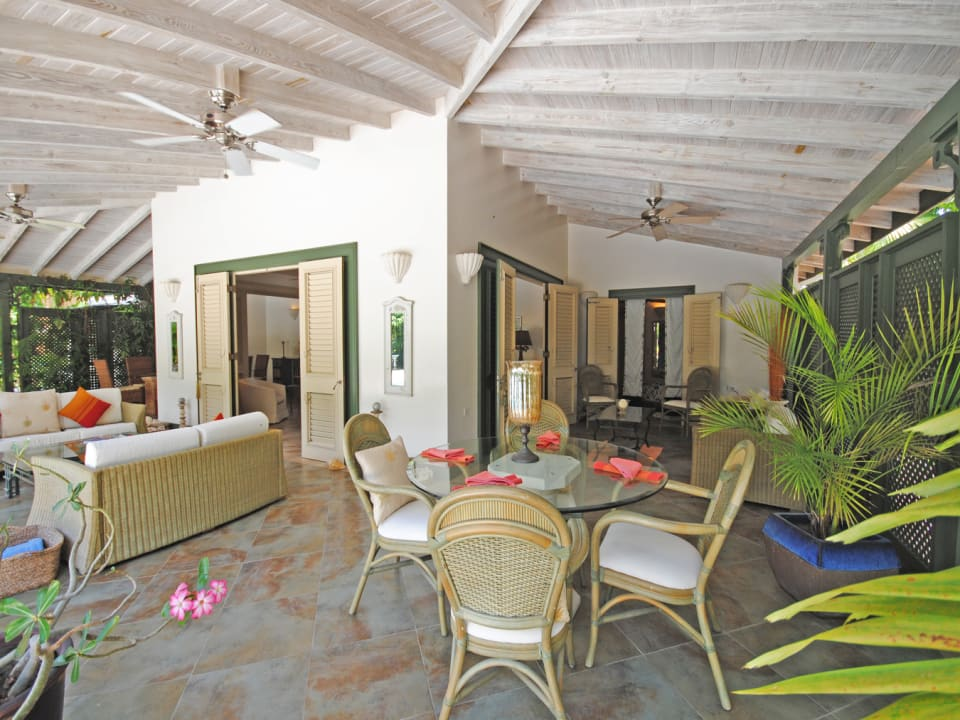 Covered terrace leading to sitting room and guest bedroom