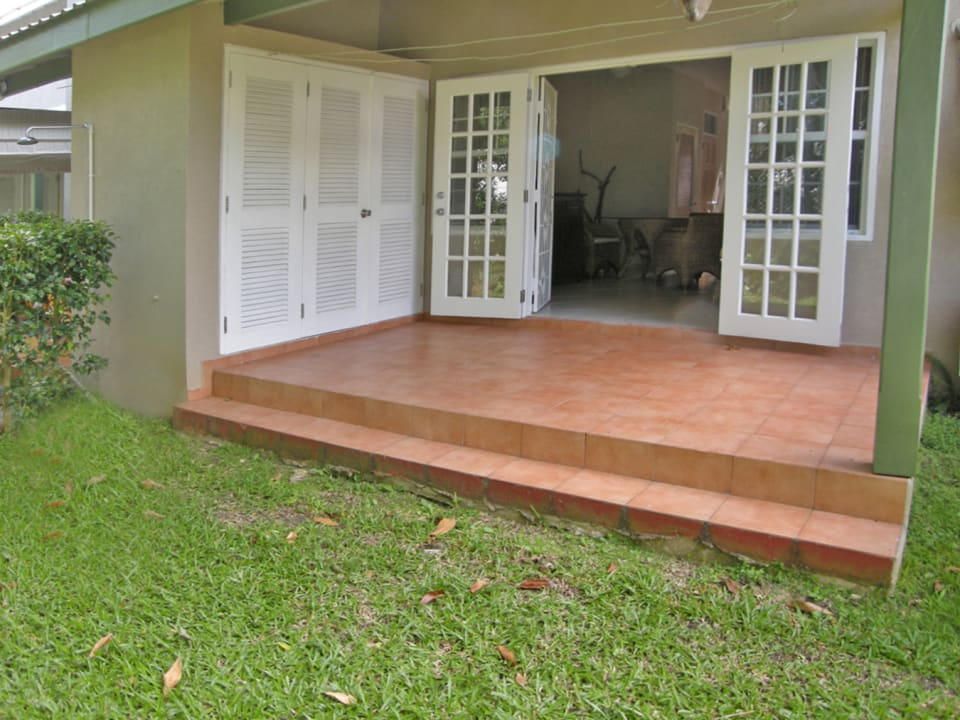 Covered verandah and storage cupboard