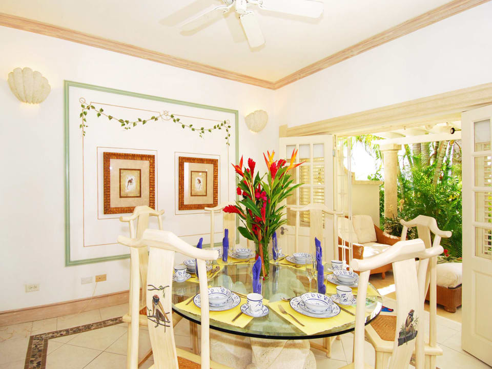 Dining room opens to poolside lounge
