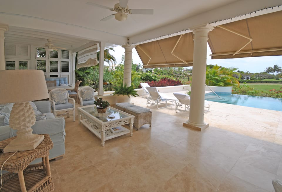 Large covered patio with sea views
