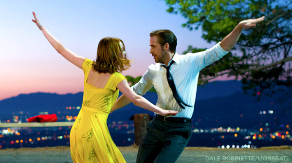 Emma Stone and Ryan Gosling dance outdoors in La La Land, an Oscar-nominated musical