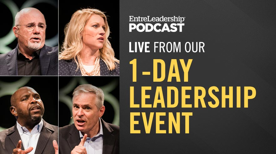Dave Ramsey, Patrick Lencioni, Chris Hogan and Christy Wright on stage at the EntreLeadership 1-Day leadership event