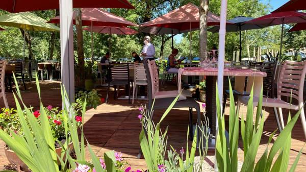 Terrasse ombragée et verdoyante - Brasserie de La Repentie, Magné