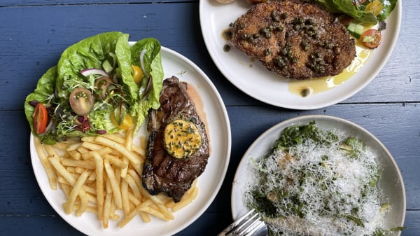 Steak Frites w Cafe de Paris, Chicken Schnitzel w caper browned butter + Rocket and pear salad - Electra House Ground Floor, Adelaide (SA)