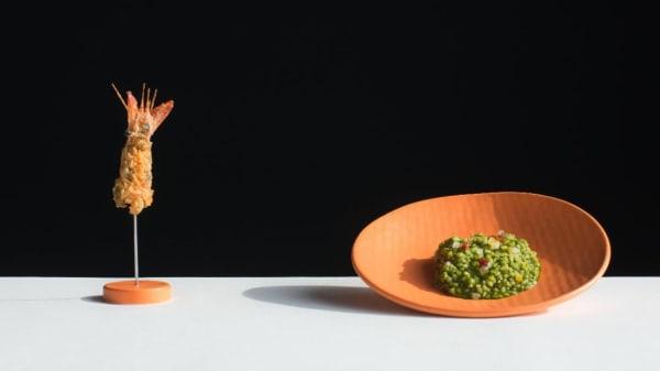 arroz con acelgas y gamba roja - Vertical por Jorge de Andrés, Valencia