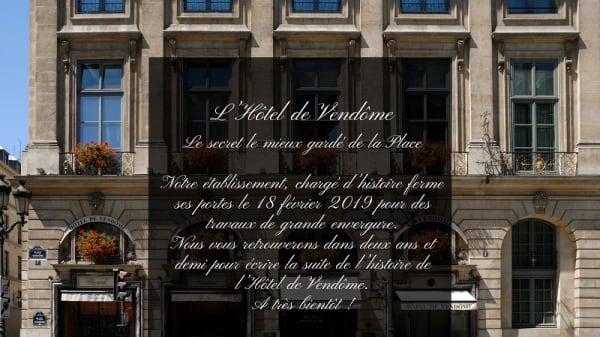 Annonce fermeture travaux - 1 Place Vendôme - Hôtel de Vendôme, Paris