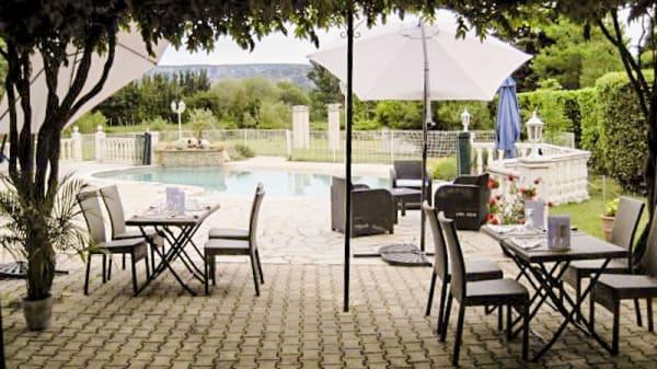 Vue terrasse - Auberge Les Olivades, Mallemort