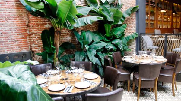 Mesas en jardín - La Contraseña, Madrid