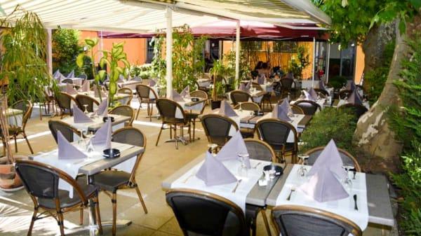 Vue de la terrasse - La Courbe du Goût, Café Restaurant de Grange-Canal, Chêne-Bougeries