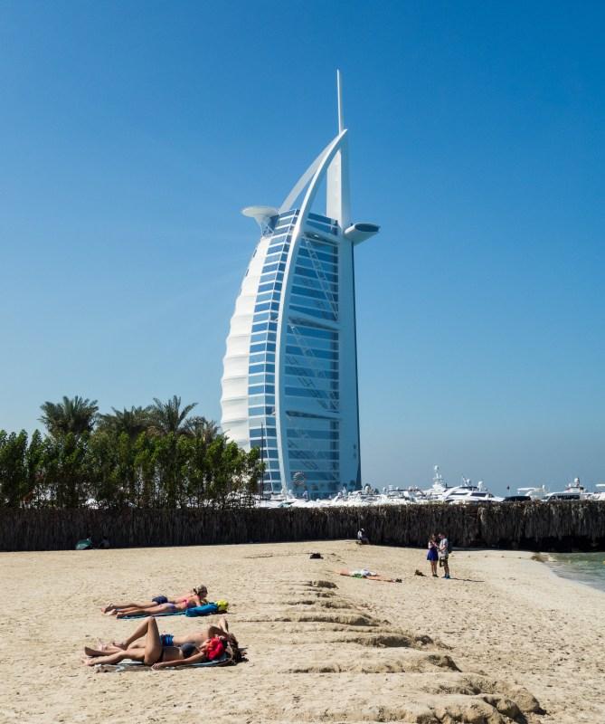 The Burj Al Arab seen from the adjacent Jumeirah public beach