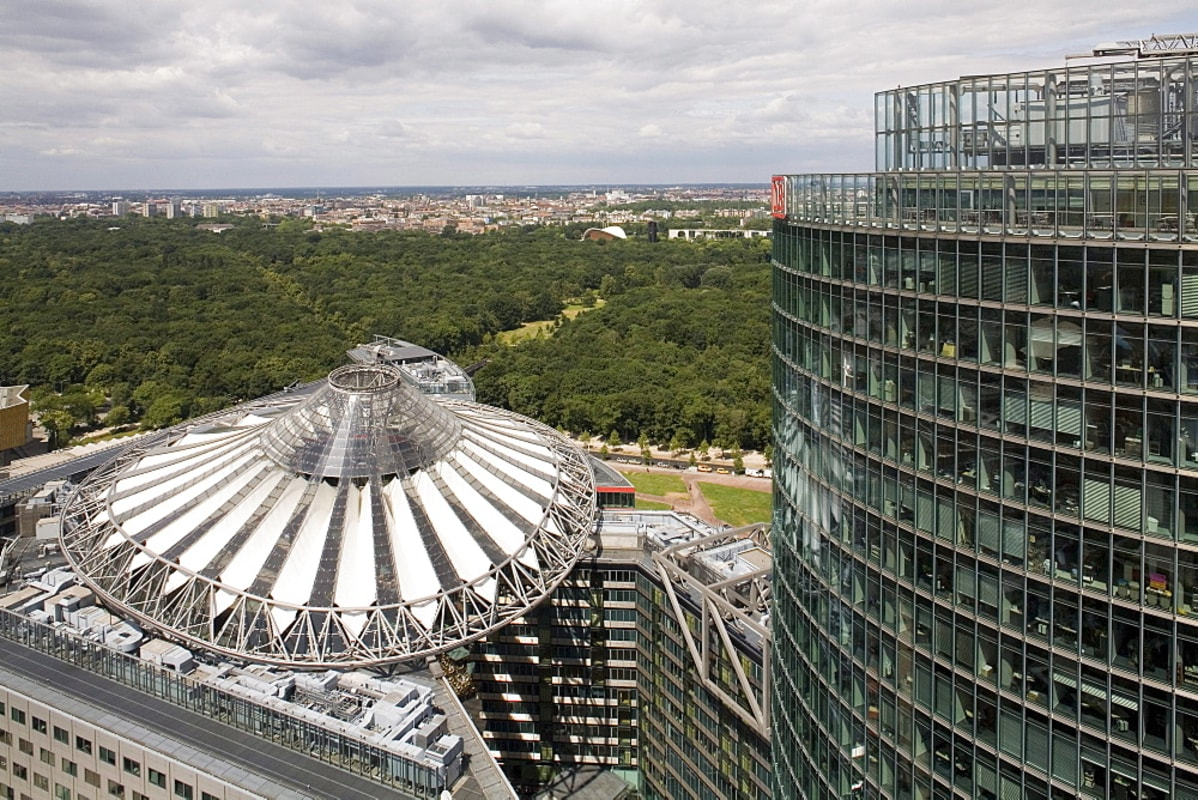 The iconic roof of the Sony Center next to the DB Tower