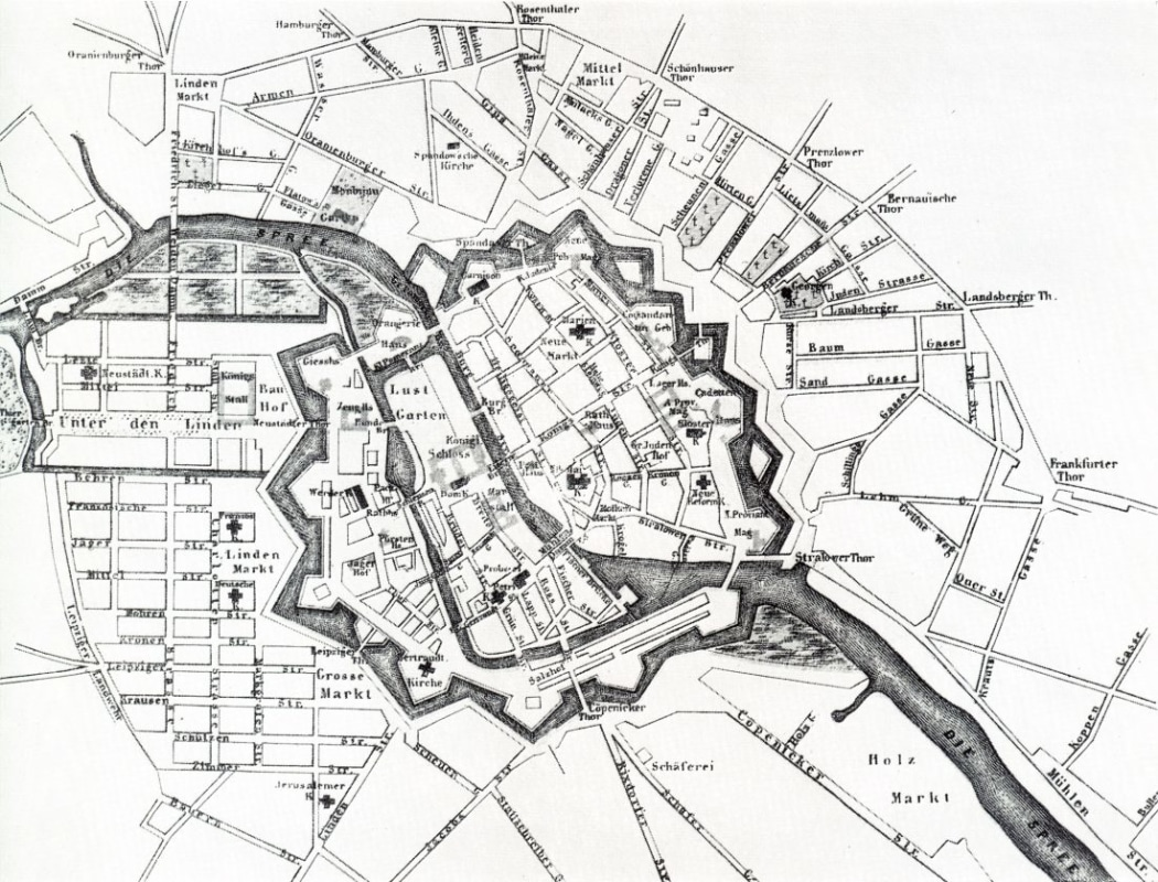 A map of Berlin in 1710. Friedrichstadt appears in the lower left, with Friedrichstraße cutting it from North to South.