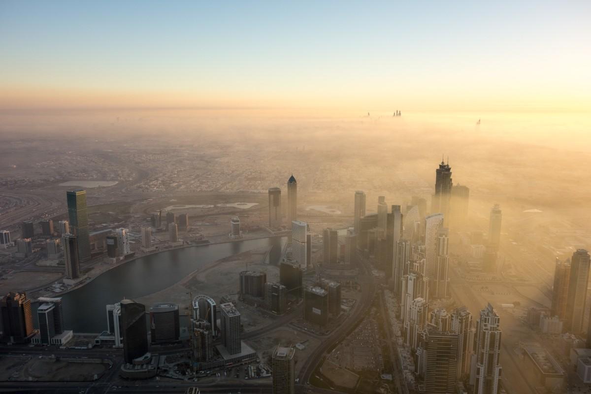 Dubai fog at sunset