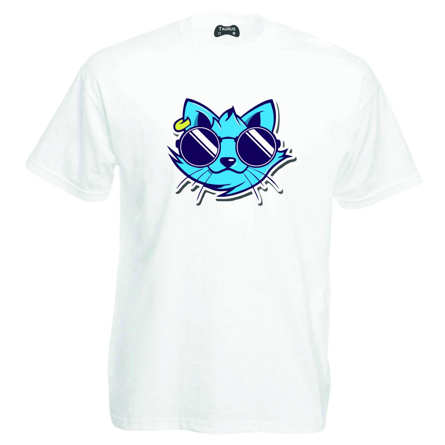 Cat T-Shirt Cool Glasses
