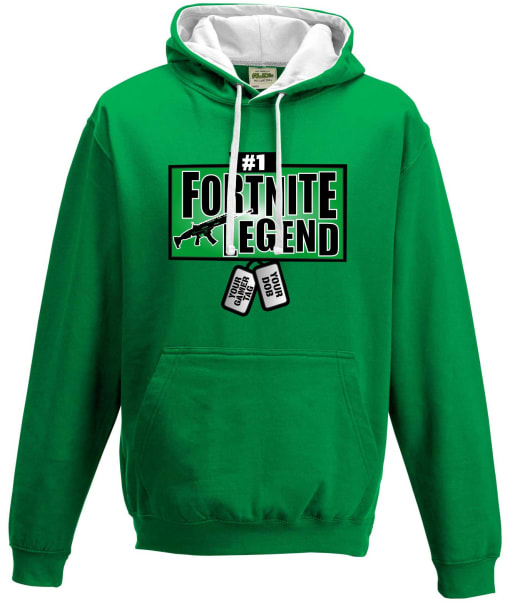Fortnite Legend with personalised dog tags Contrast Hoodie