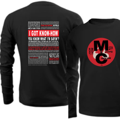 Young MC Know How Record sleeve and Lyrics T Shirt