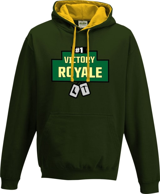 Fortnite #1 Victory Royale with dog tags Contrast Hoodie