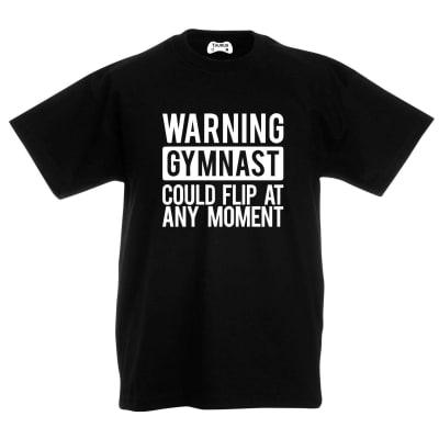 Warning Gymnast Kids T-Shirt
