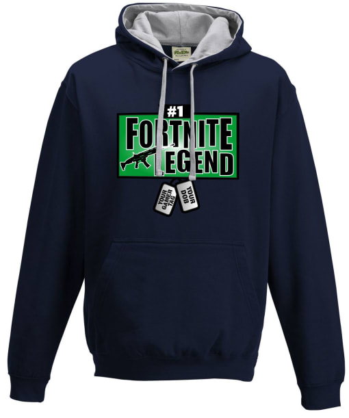 Fortnite Legend Contrast Hoodie Personalised Dog Tags