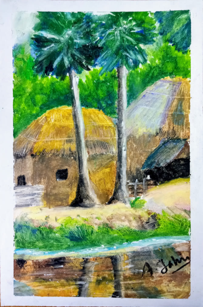 Village Scene Drawing's Featured Photo