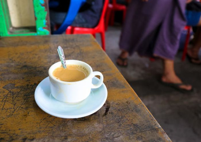 Classic Burmese laphet yay tea is a mix of evaporated milk, sweetened condensed milk and black tea.