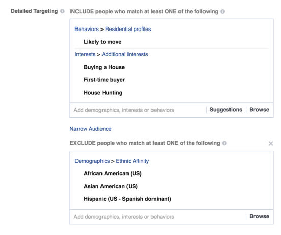 Racial Exclusion in Facebook Ads