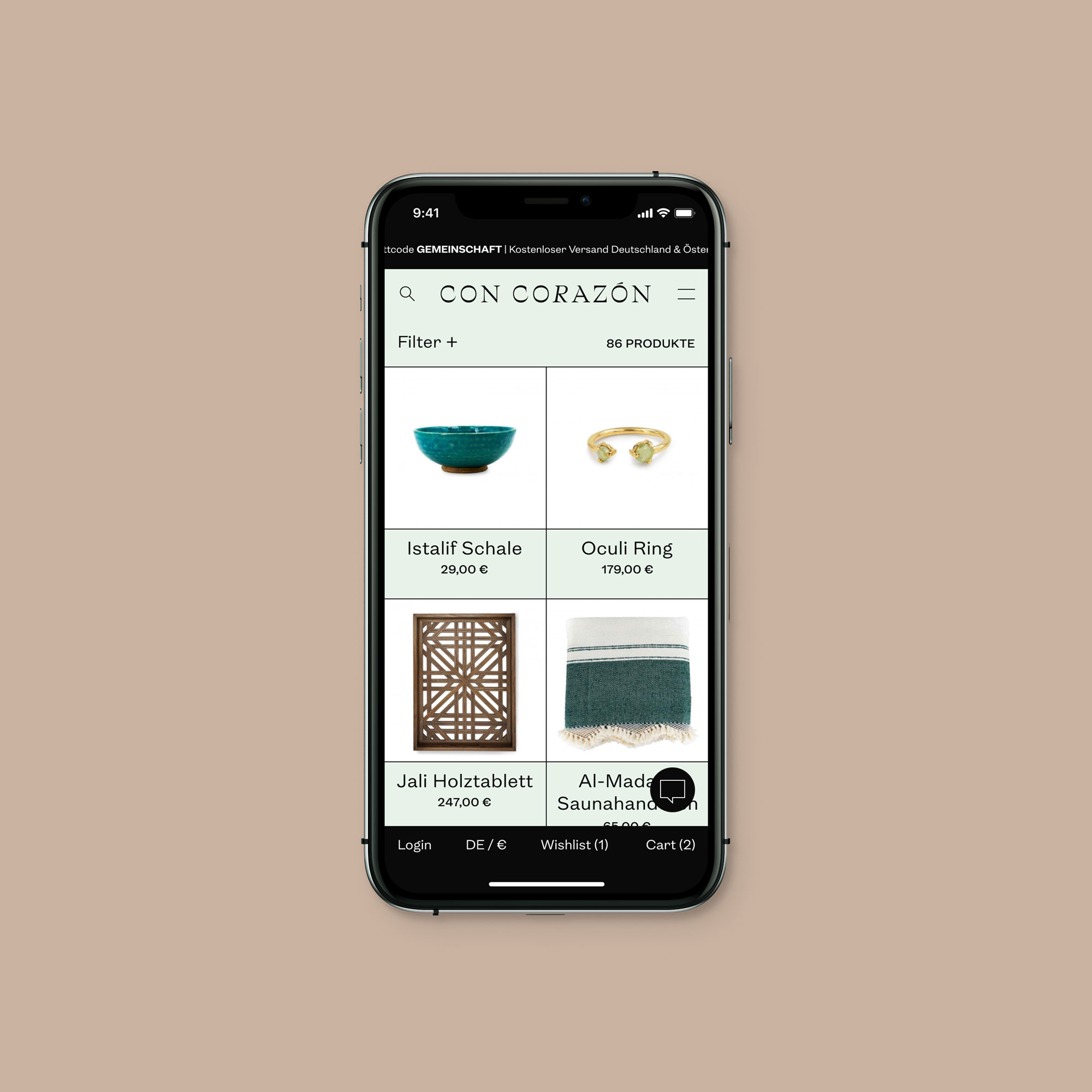 The shop application designed for Con Corazón