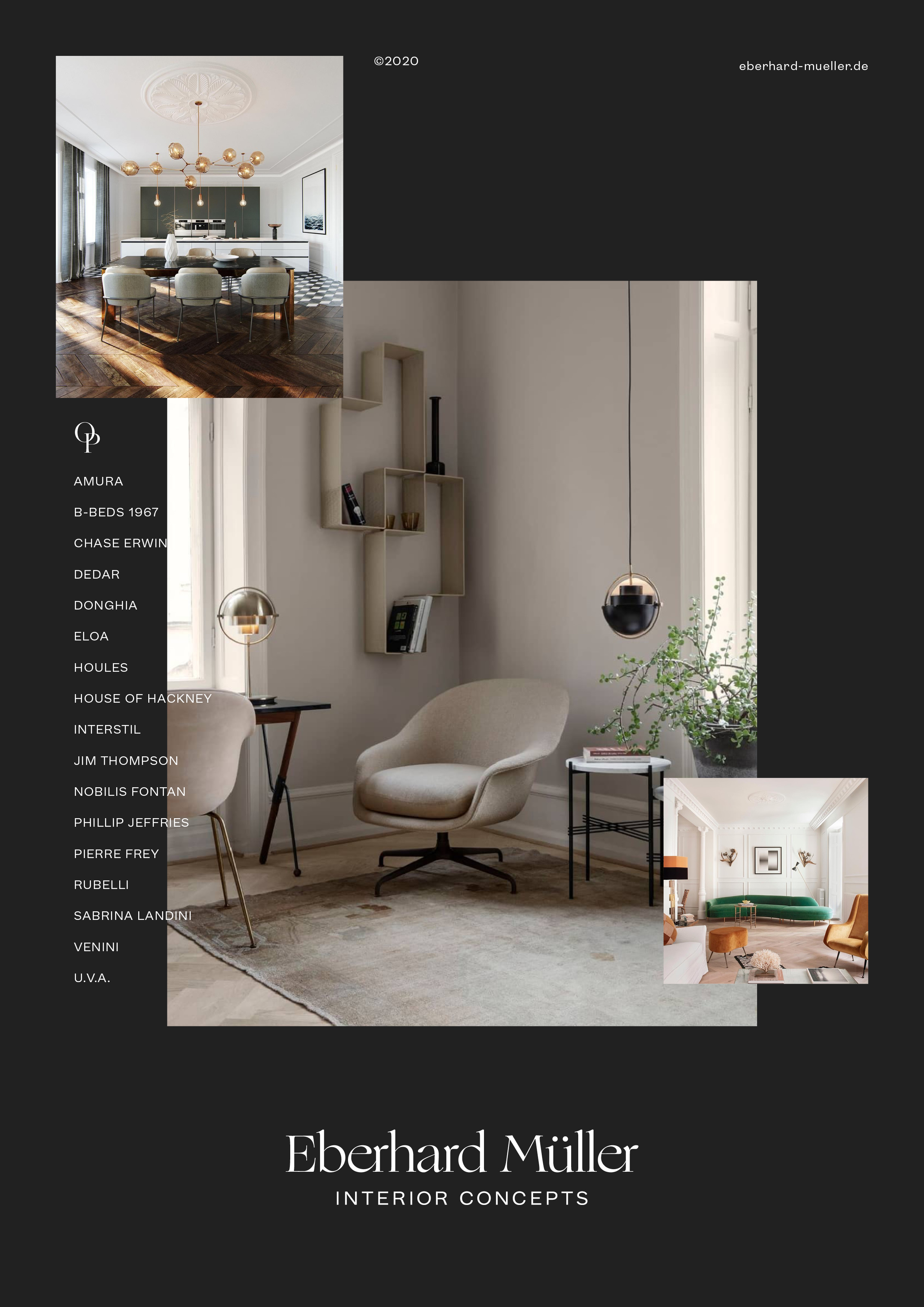 The finished page showcases highlights of interior design by Eberhard Mueller