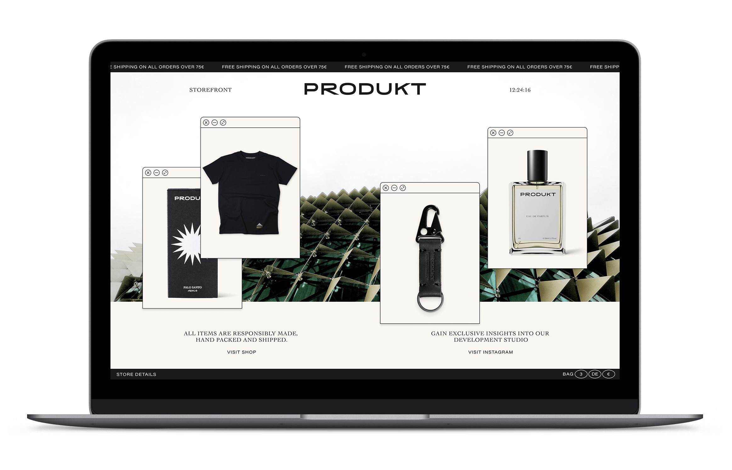 We developed the online shop to accept payments from countless vendors and ship globally