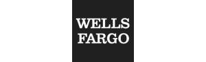 "Wells Fargo logo: Black square background with two rows of white text reading, ""Wells Fargo."""